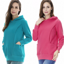 HOLLEO BREASTFEEDING/NURSING HOODIE JUMPER IN PINK OR TEAL SIZES UK 8-18